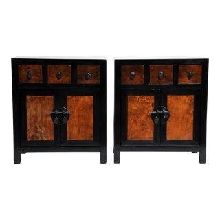 Chinese Side Tables with Three Drawers and a Shelf- A Pair For Sale