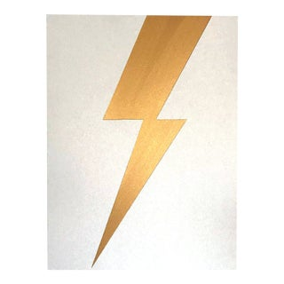 "Max & Alma Wolf Original Acrylic Painting ""Gold Lightning"" For Sale"