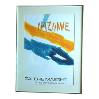 Vintage Mid 20th C. Poster by Listed French Artist Jean Bazaine-Framed For Sale