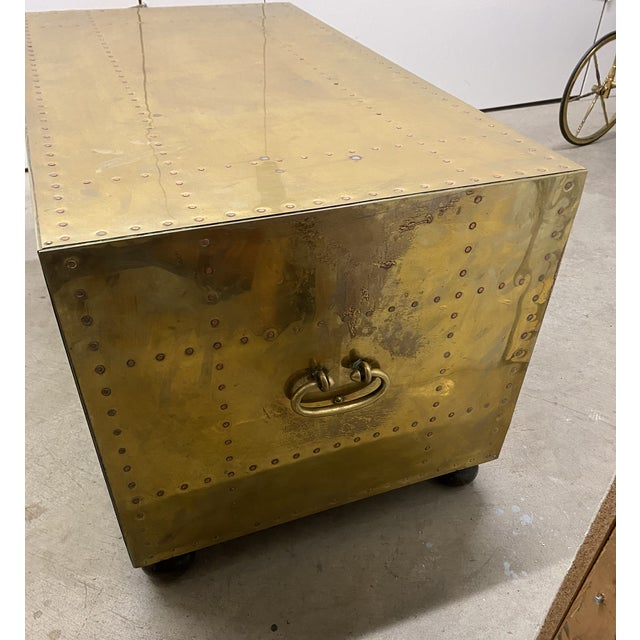 Metal Gold Chest of Drawers Cocktail Table For Sale - Image 7 of 9