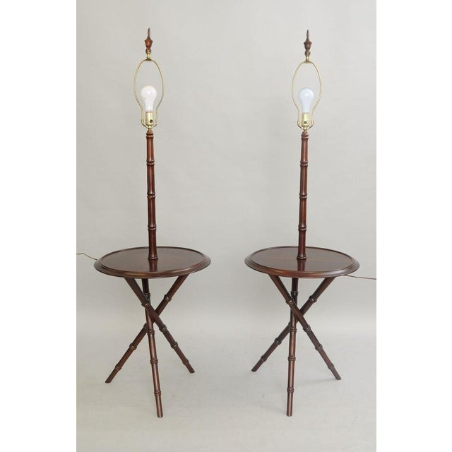 Item: Pair of Vintage Hollywood Regency / Chinese Chippendale Style Cherry Wood Lamp Tables (Shades not included) Details:...