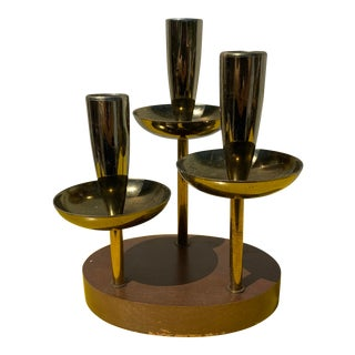 Mid-Century Modern Three Tier Brass Candle Holder For Sale