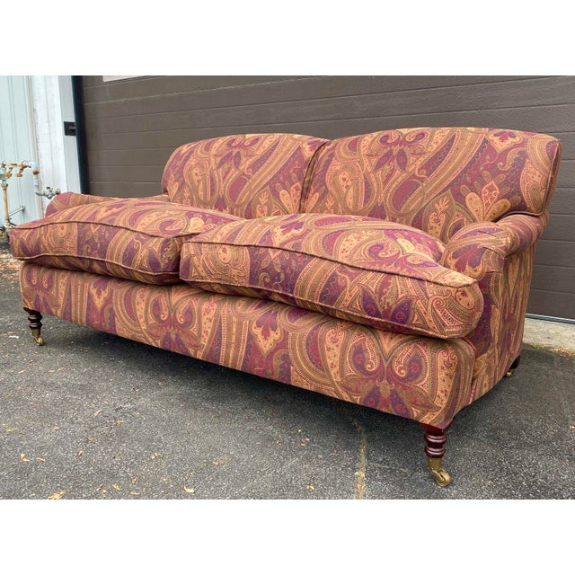 This George Smith Standard arm sofa is in a beautiful paisley like pattern fabric. The cushions are down filled and...