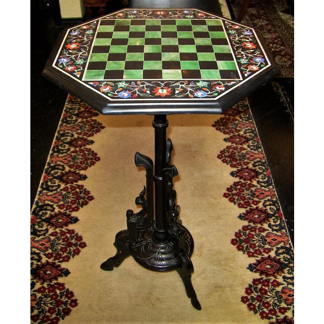 Pietra Dura Chess Board Marble Table For Sale - Image 4 of 9