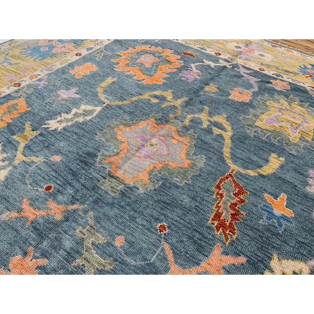 Traditional Blue Oushak Rug- 8′ × 10′ For Sale - Image 3 of 11