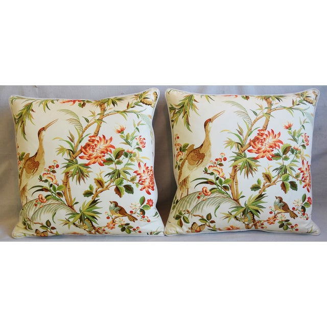 Pair of large custom-tailored pillows in unused chinoiserie printed fabric depicting a beautiful and colorful floral...