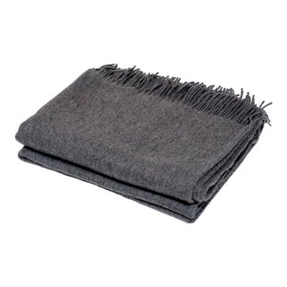 Contemporary Cashmere Collection Charcoal Throw For Sale