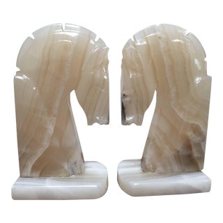 Art Deco Onyx Horses Heads Bookends - a Pair For Sale