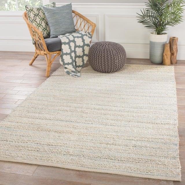 2010s Jaipur Living Canterbury Natural Stripe White/ Blue Area Rug - 9' X 12' For Sale - Image 5 of 6
