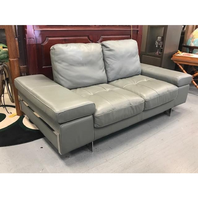 Grey Leather Convertible Love Seat For Sale In West Palm - Image 6 of 6