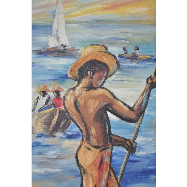 Edouard Wah Haitian Original Oil Painting C.1960s - Image 4 of 7