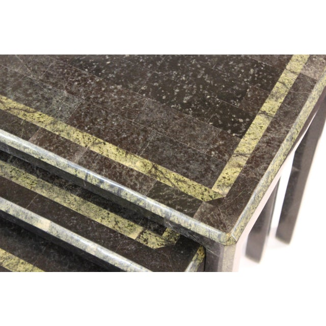 Black Maitland-Smith Modern Nesting Tables in Tessellated Stone - Set of 3 For Sale - Image 8 of 13