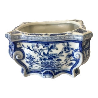 Mid 1900s Antique Chinese Blue and White Cachepot For Sale