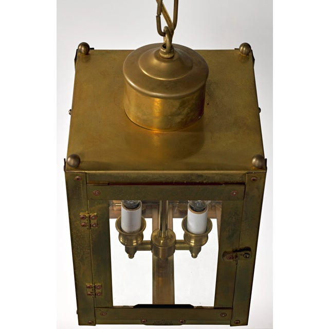 Late 20th Century Traditional Brass and Glass Two Light Lantern For Sale - Image 4 of 13