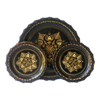 Vintage Black & Copper Turkish Trays - Set of 3
