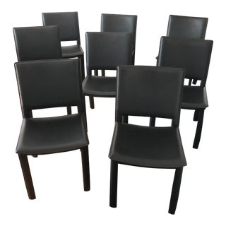 Room and Board Madrid Black Leather-Covered Dining Chairs - Set of 8