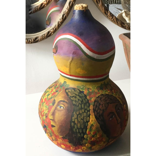 Mid Century Listed Artist Rodolfo Morales - Painted Gourd - Image 3 of 7