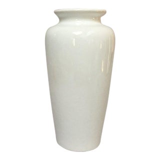 Harris Potteries Tall White Ceramic Vase For Sale