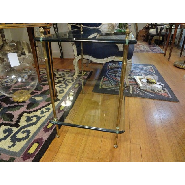 Brass Italian Bronze and Glass Two Tiered Table For Sale - Image 7 of 12
