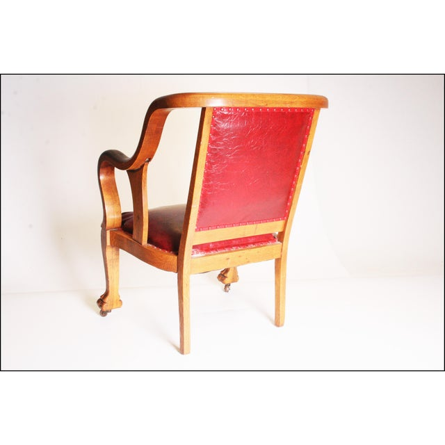 Vintage Wood & Red Leather Gentleman's Chair For Sale - Image 6 of 11