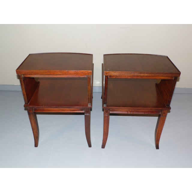 Red Vintage Federal Style Step Sabre End Tables - A Pair For Sale - Image 8 of 10