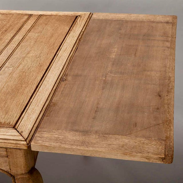 French Bleached Oak Table with Self Storing Leaves - Image 9 of 9