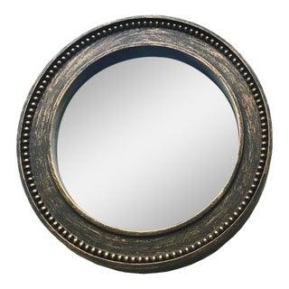 Dark Brown Wood & Gold Convex Mirror For Sale