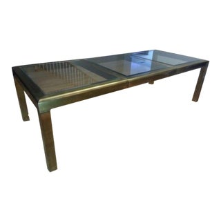 1970s Baker Mastercraft Beveled Glass & Antiqued Brass Parsons Dining Table For Sale