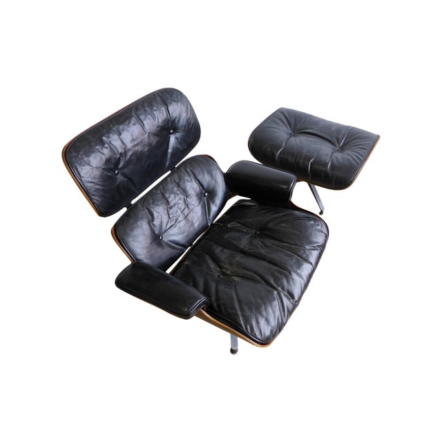 Eames 670/671 Leather Lounge Chair For Sale