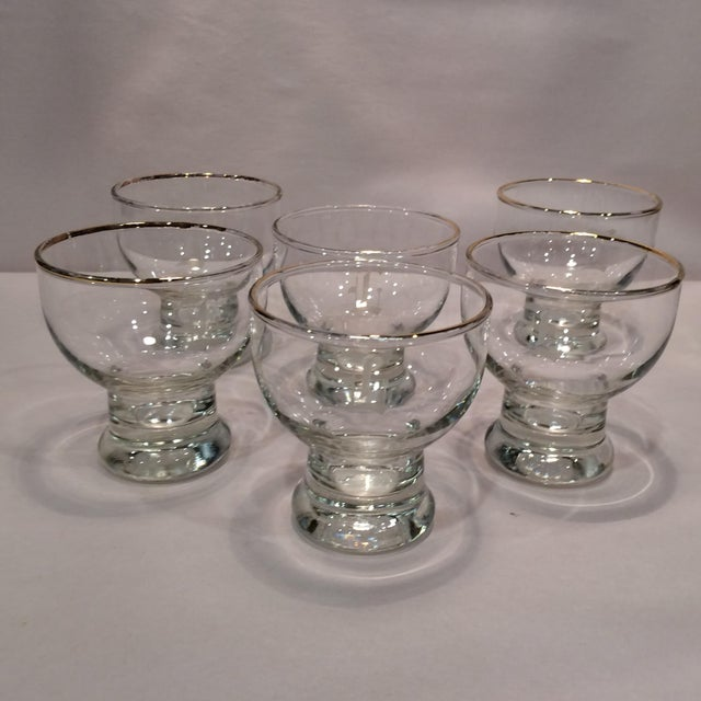 """Vintage """"L """" Monogrammed Crystal Aperitif Glasses - Set of 6 - Image 2 of 11"""