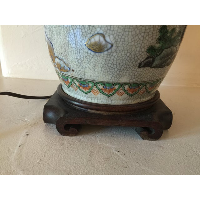 Green Vintage Asian Table Lamp With Wooden Base For Sale - Image 8 of 11
