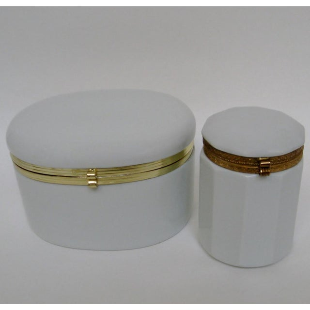 Mid-Century Modern White Porcelain Canisters - A Pair For Sale - Image 3 of 6