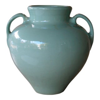 A Large-Scaled American Pottery Aqua-Glazed Urn For Sale