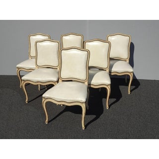 Six Vintage French Provincial Off White Leather Dining Room Chairs by Thomasville Preview