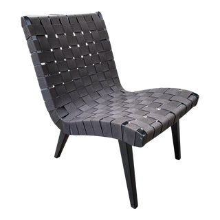 Jens Risom Webbed Black Lounge Chair for Knoll For Sale