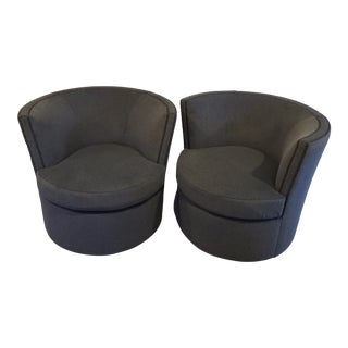 Grey Velvet Swivel Chairs - a Pair For Sale