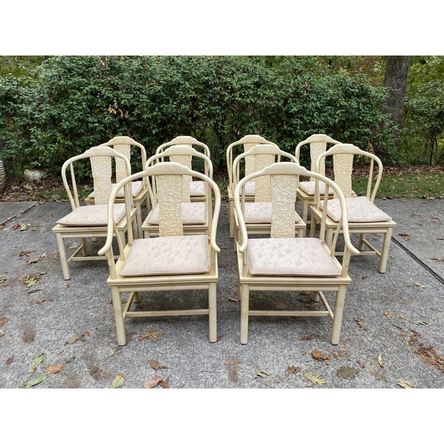 Vintage Henredon Asian Faux Goatskin Dining Chairs - Set of 10 For Sale - Image 12 of 12