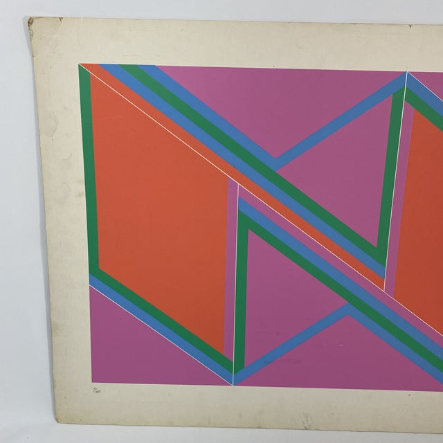 """1970s David Leverett Signed and Numbered """"Untitled"""" Serigraph Unframed For Sale - Image 4 of 13"""