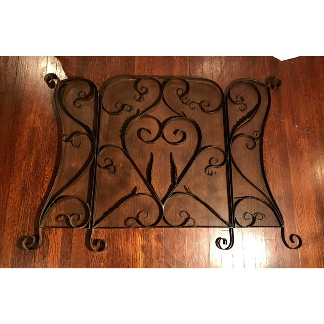 Spanish Revival Mid-Century Wrought Iron Scroll Work Fireplace Screen For Sale - Image 4 of 7