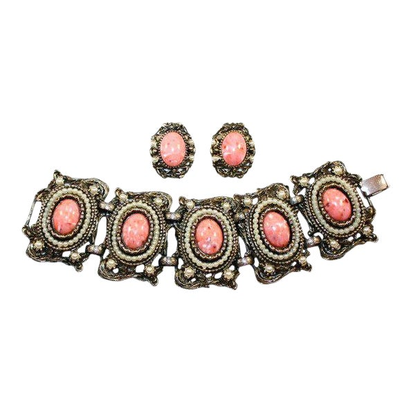 1950s Faux-Coral & Pearl Bracelet and Earring Set For Sale