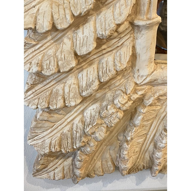 Glass Vintage Tropical Palm Tree Leaf Leaves Faux Bamboo Wall Mirror For Sale - Image 7 of 9