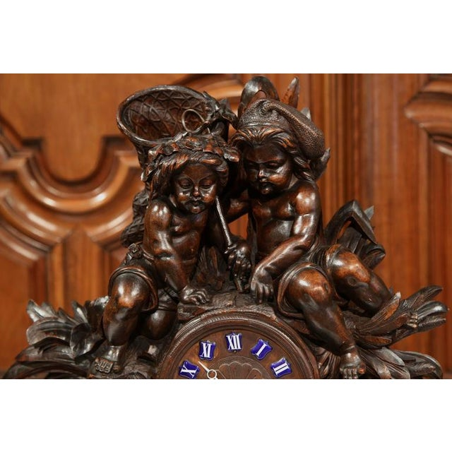 19th Century Swiss Carved Walnut Black Forest Mantel Clock For Sale In Dallas - Image 6 of 10