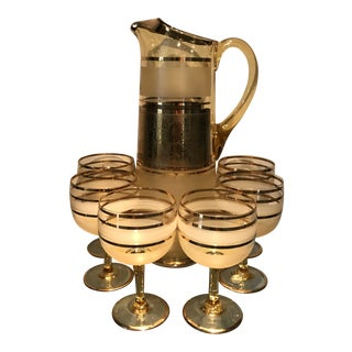 Mid-Century Modern Bohemian Czech Amber & Gold Crystal Cocktail Pitcher and Glasses - Set of 7 For Sale