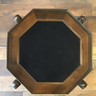 20th Century Gothic Ethan Allen Oak and Black Hexagonal Folding Side Table Preview