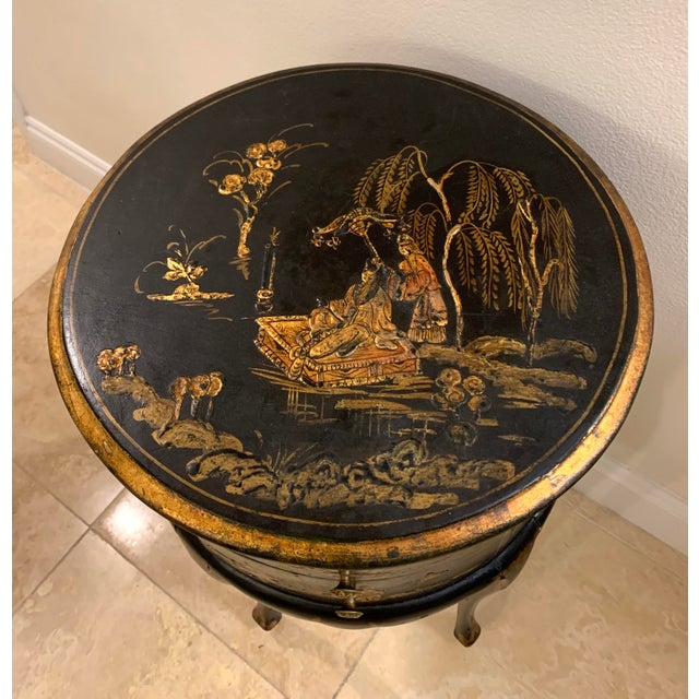 Asian Vintage Chinoiserie Hand Painted and Gilt Pictorial Ebonized Two Drawer Side Table For Sale - Image 3 of 13