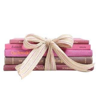 """Vintage Pink Book Gift Set: """"Made by Hand"""" Art - Set of 5 For Sale"""