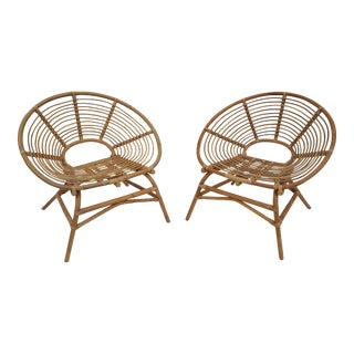 Vintage Circular Design Rattan Satellite Chairs - A Pair