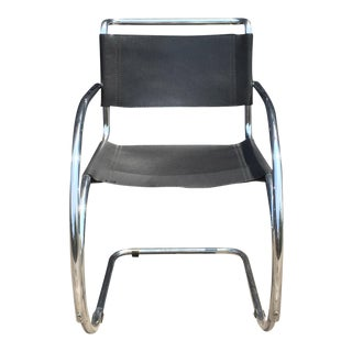 Mid-Century Leather and Chrome Arm Chair