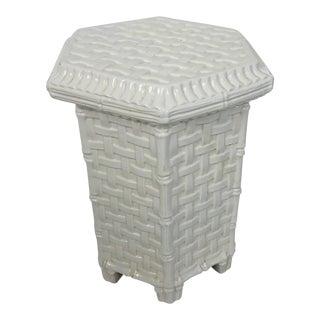 Italian Ceramic Lattice Side Table For Sale