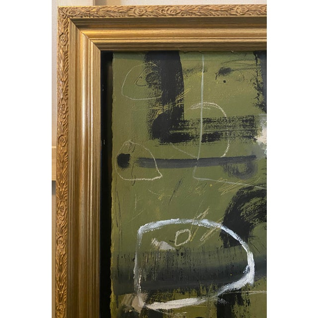 Layered abstract painting by artist Joe Turner. Nicely framed in an ornate, antique frame. Very textural, gestural mark-...